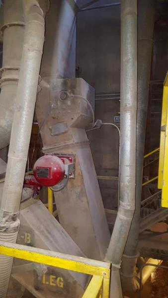 Explosion Isolation Cannon Mounted Onto A Bucket Elevator